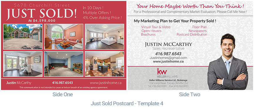 just sold postcard examples